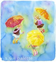 雨の日の少女たち