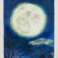 部屋の中から見えた「満月」