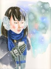 雪の中の受験生
